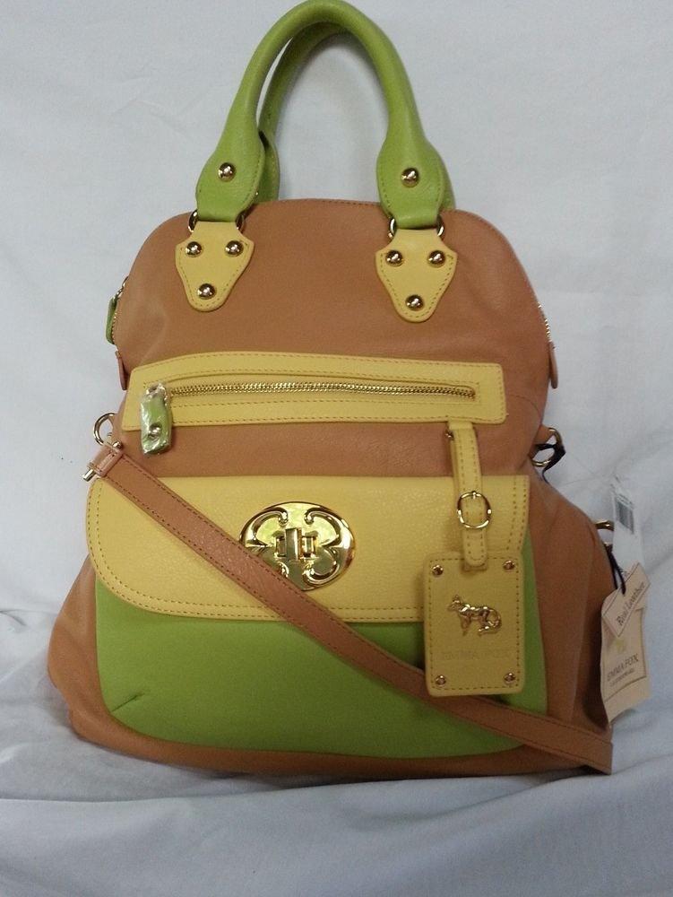 EMMA FOX Leather Classics Tote/Crossbody Bag in Tan & Multi Citrus-NWT-RP:$298