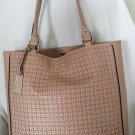 BCBG Maxazria Cut Out Leather Tote Shoulder Bag in Parfait