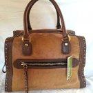 orYANY Brenda Large Leather & Haircalf Boxy Bowler Bag Natural