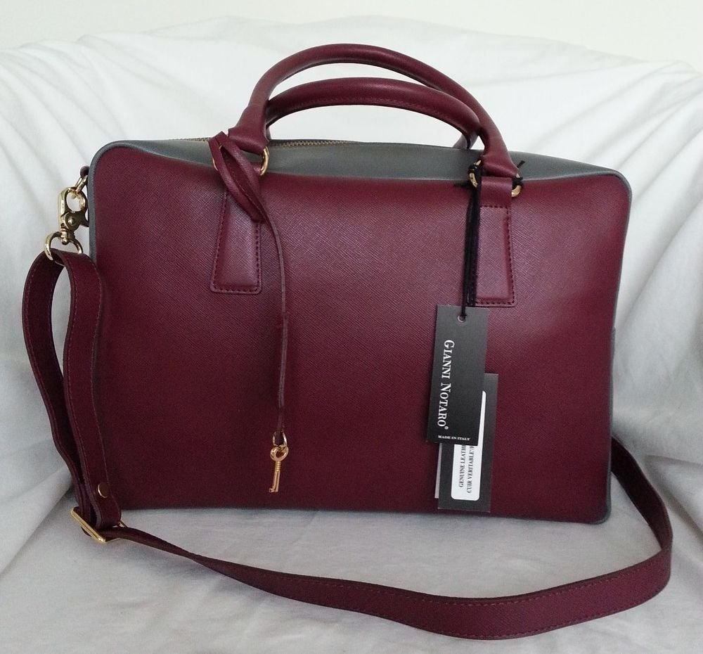 Gianni Notaro Saffiano Leather Two-Tone Bowler Shoulder Bag Made in Italy