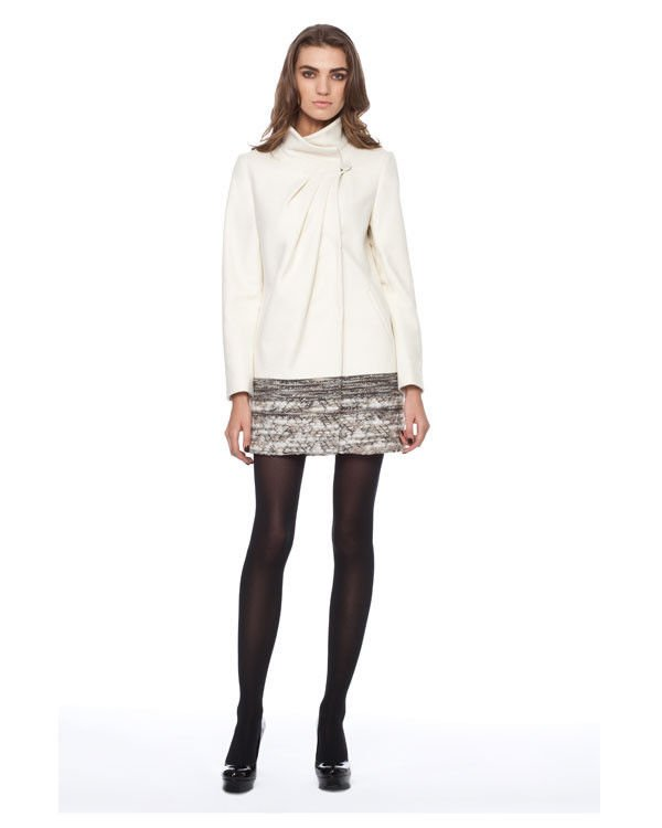 Badgley Mischka Victoria Top Button Swing Coat Almond or Off White