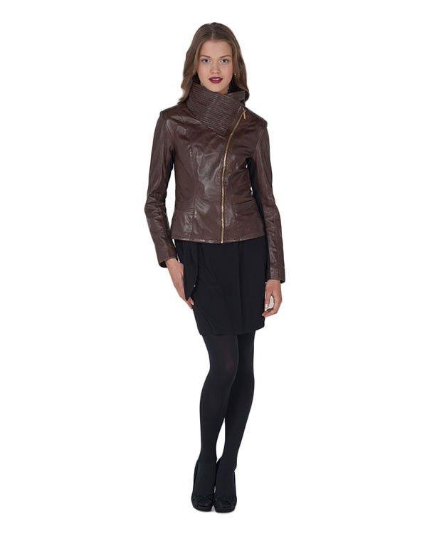 Badgley Mischka Mel High Collar Leather Moto Jacket Brown-Sz XL-NWT-RP: $495.00