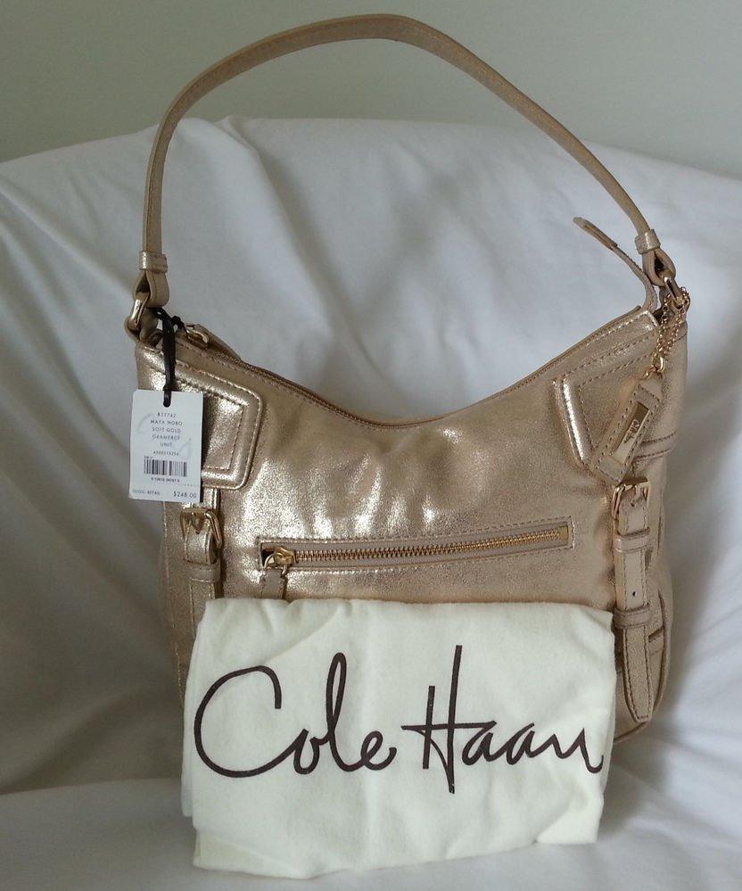 Cole Haan Leather Maya Hobo Shoulder Bag in Soft Gold-Grammercy Unit-SRP:$248