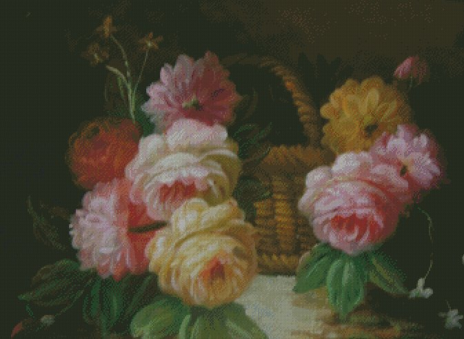 Flower Basket Counted Cross Stitch - Aida 14 Count