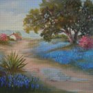 Texas Bluebonnets Landscape Counted Cross Stitch - Aida 14