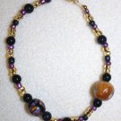Black, Gold, N' Purple Beaded Bracelet - Item #B16