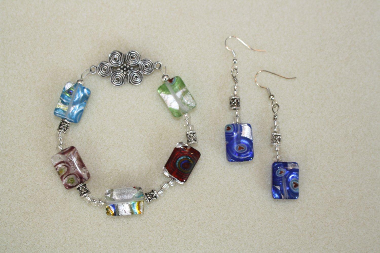 Millefiori Rectangles Bracelet & Earrings - Item #BES8
