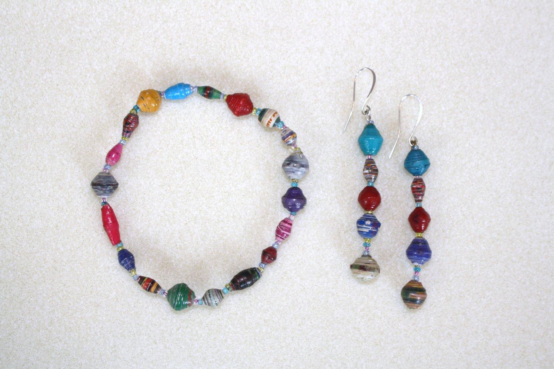 African Paper Bead Bracelet & Earrings - Item #BES9