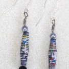 Silver/Black Tones Paper Bead Earrings - Item #E6