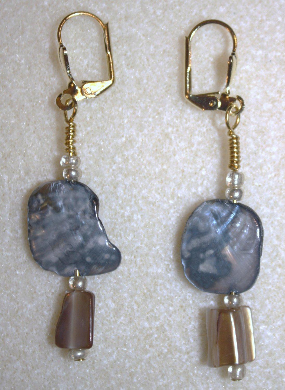 Two Tone Shell Earrings - Item #E40