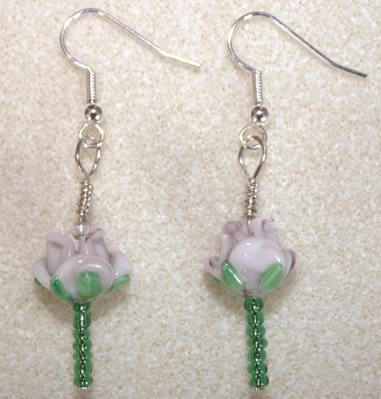 Lavender Rose Earrings - Item #E53