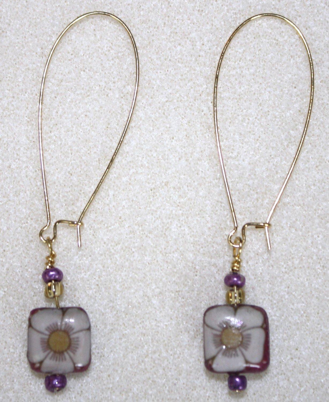 Purple N' Gold Floral Decoupage Earrings - Item #E54