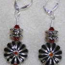 Red, Silver, N' Black Cloisonne' Earrings - Item #E80