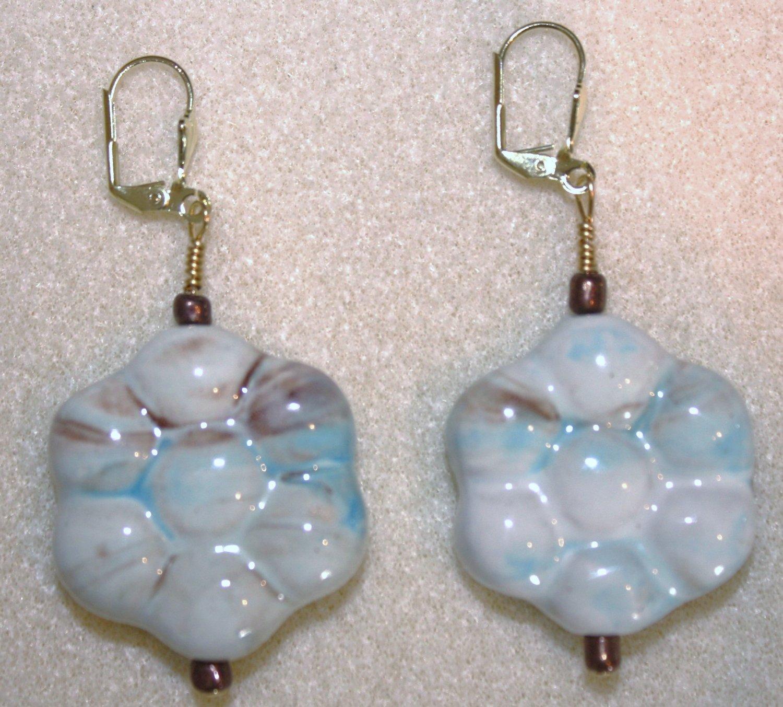 Ceramic Flower Earrings - Item #E96