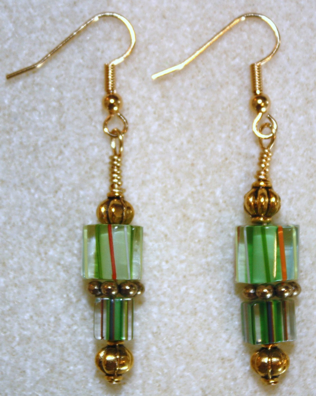 Striped Green N' Gold Millefiori Earrings - Item #E111
