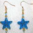 Sea Glass Starfish Earrings - Item #E120