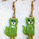 Lime Feline Earrings - Item #E143