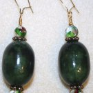 Dark Green Focal Earrings - Item #E172