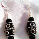 Tooled Black N' Silver Earrings - Item #E177