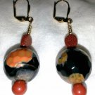Rust N' Black Agate Earrings - Item #E178