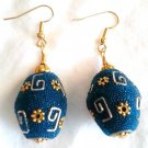 Tooled Teal, Silver, N' Gold Earrings - Item #E179
