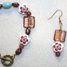 Floral Porcelain Bracelet & Earrings - Item #BES30