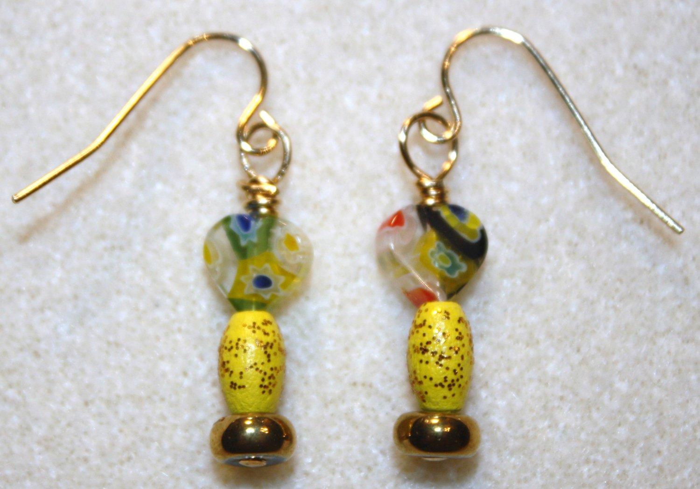 Millefiori Heart Earrings - Item #E233