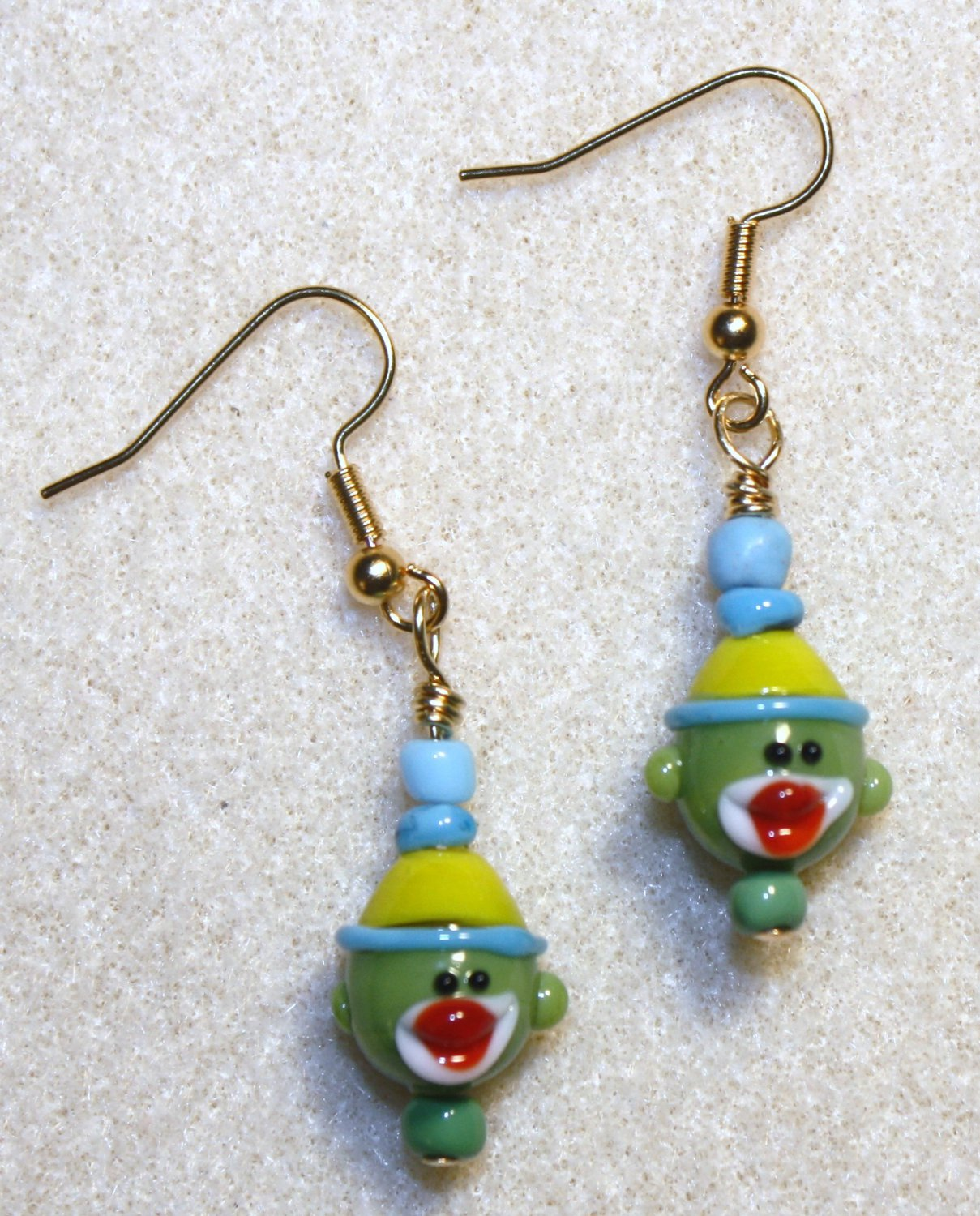 Green N' Blue Sock Monkey Earrings - Item #E285