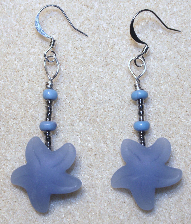 Cornflower Blue Sea Glass Starfish Earrings - Item #E298