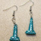 Verdigris Patina Lighthouse Earrings - Item #E342