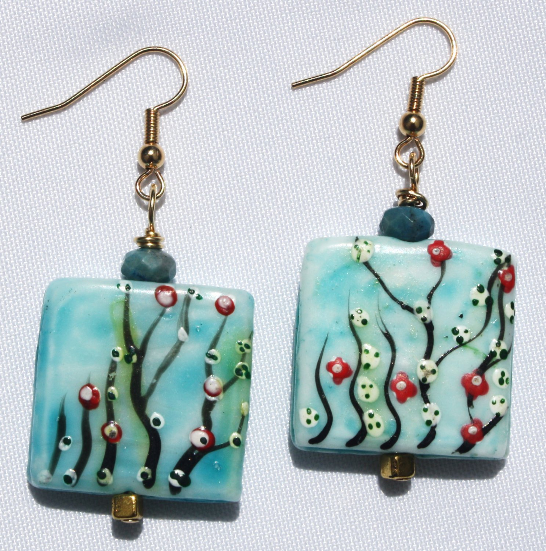 Blue Sky Floral Earrings - Item #E366