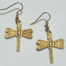 Golden Dragonfly Earrings - Item #E356