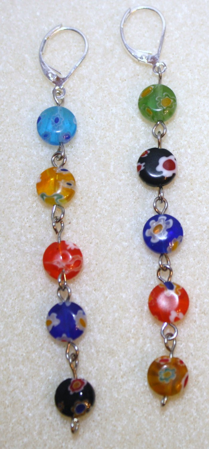 Round Millefiori Bead Earrings - Item #BES13