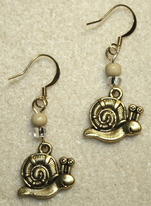 Golden Snail Earrings - Item #E407