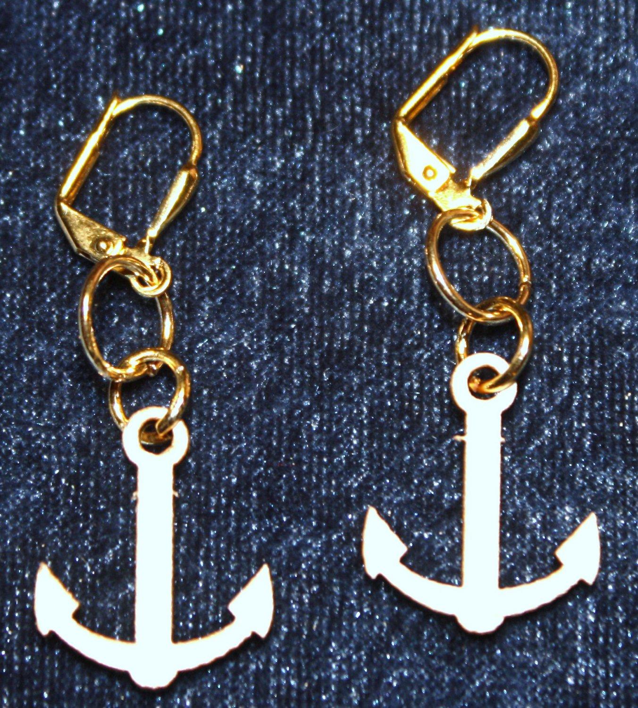 Balsa Ship Anchor Earrings - Item #E428