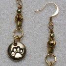Golden Pawprint Earrings - Item #E416