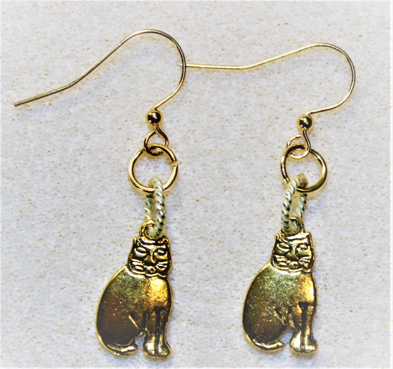 Goldtone Cheshire Cat Earrings - Item #E467