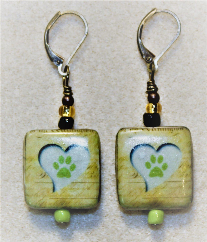 Heart N' Pawprint Earrings - Item #E470