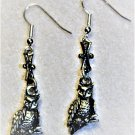 Silvertone Owl Earrings - Item #E492