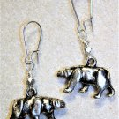 Silvertone Bear Earrings - Item #E493