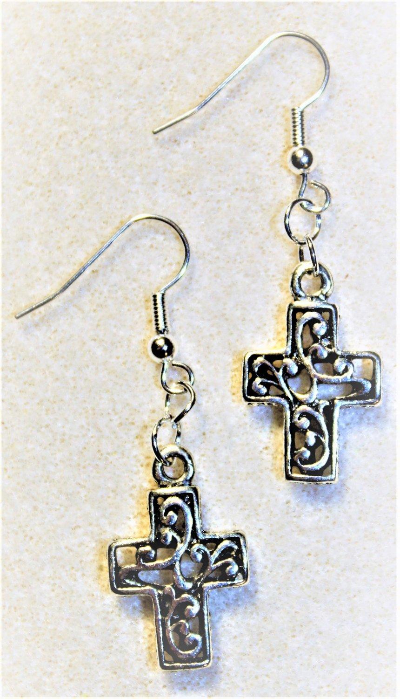 Silvertone Cross Earrings - Item #E497