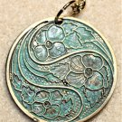 Teal Patina Floral Necklace - Item #N34