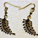 Delicate Brass Leaf Earrings - Item #E541