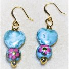 Blue Floral Ceramic Earrings - Item #E555