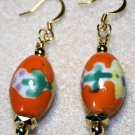 Orange Floral Ceramic Earrings - Item #E556