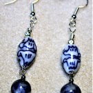Blue Ceramic and Marble Earrings - Item #E557