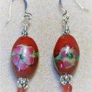 Red Floral Ceramic Earrings - Item #E559