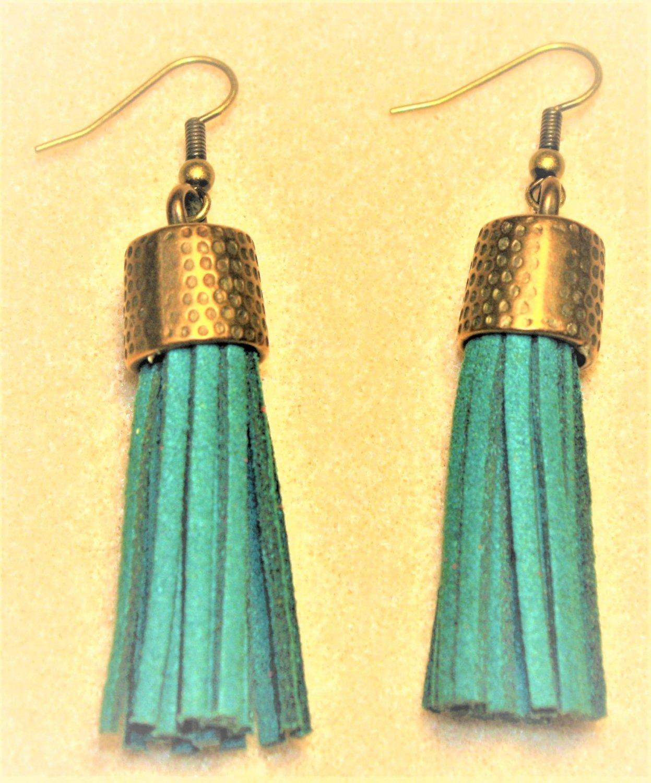 Dark Teal Tassel Earrings - Item #E665