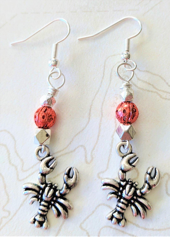 Silvertone Lobster Earrings - Item #E724