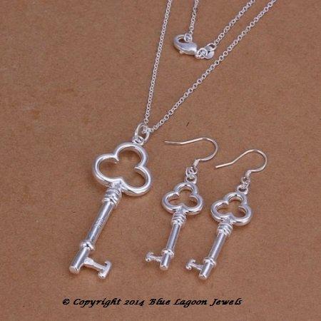 Keys Necklace & Earring Set - .925 Sterling Silver